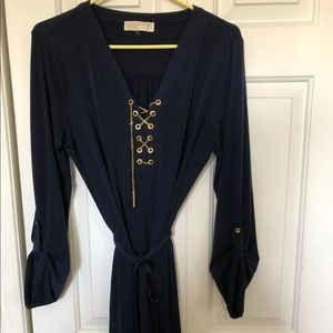 Michael Kors - Chain Lace Up Belted Navy Dress